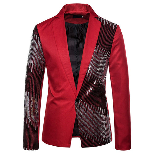 Shiny Sequin Glitter Embellished Blazer Jacket