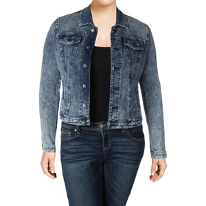 Womens Plus Jean Jacket Faded Cropped - 1x - kats closet1