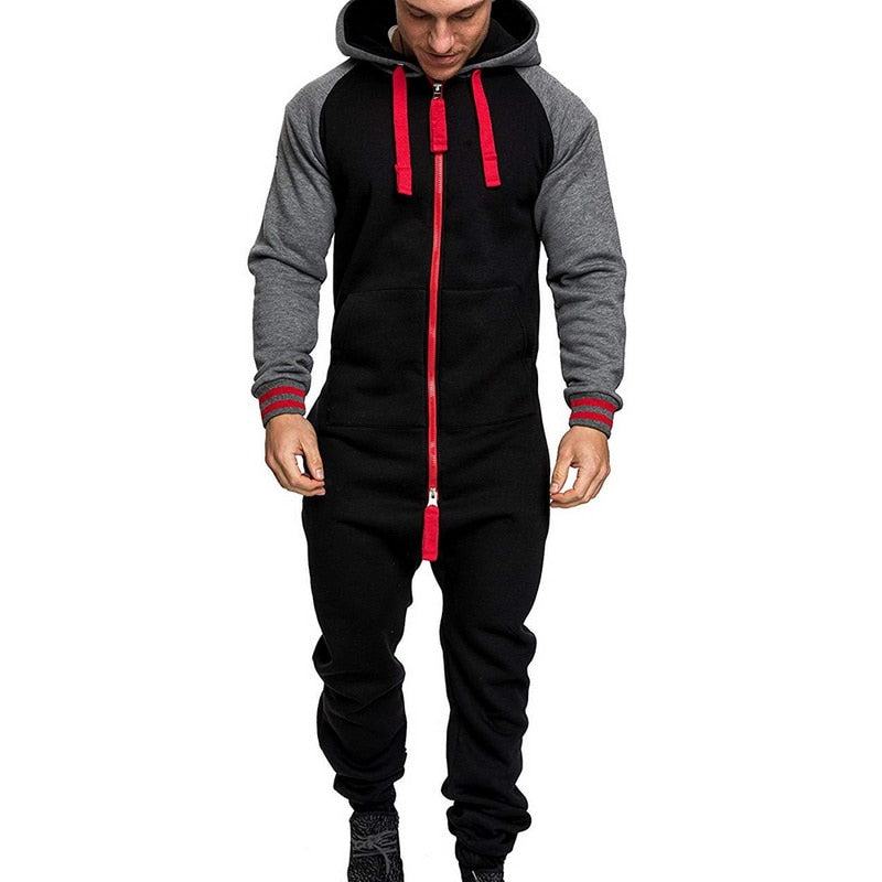 COOFANDY Mens Hooded Jumpsuit Full Zip Onesie Rompers One Piece Overalls Lightweight Tracksuit with Pockets