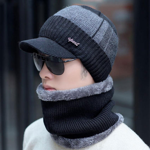 Men Winter Hat And Scarf Set Cap With Brim Knitted Visor