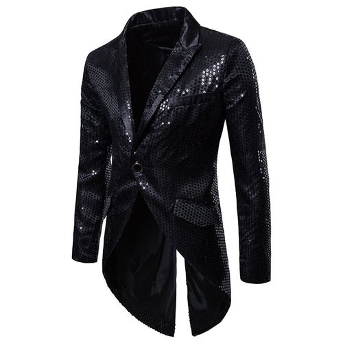 Shiny Gold Sequin Glitter Tailcoat Slim Fit One Button Long Tuxedo Blazer
