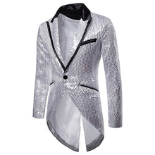 Load image into Gallery viewer, Shiny Gold Sequin Glitter Tailcoat Slim Fit One Button Long Tuxedo Blazer