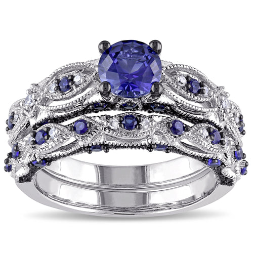 Miadora 10k White Gold Created Blue Sapphire 1/10ct TDW Diamond Vintage Bridal Set - kats closet1