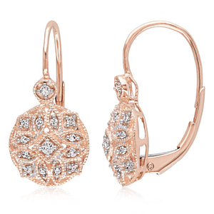 Miadora 14k Rose Gold 1/6ct TDW Diamond Earrings - kats closet1