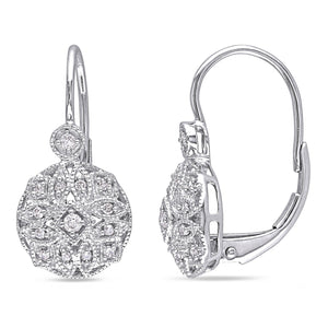 Miadora 14k White Gold 1/6ct TDW Diamond Earrings - kats closet1
