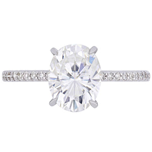 Moissanite by Miadora Signature Collection 14k White Gold 2ct TGW Oval-Cut Moissanite and 1/10ct TDW Diamond Engagement Ring - kats closet1