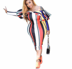 Multi Color Striped Ruffles Sexy Off Shoulder Slash Neck Long Sleeve Plus Size Bodycon Dress