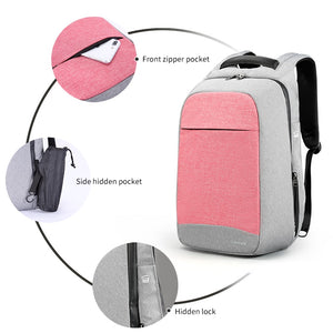 "Pink 15.6"" Laptop Anti theft School Backpack for Girls"