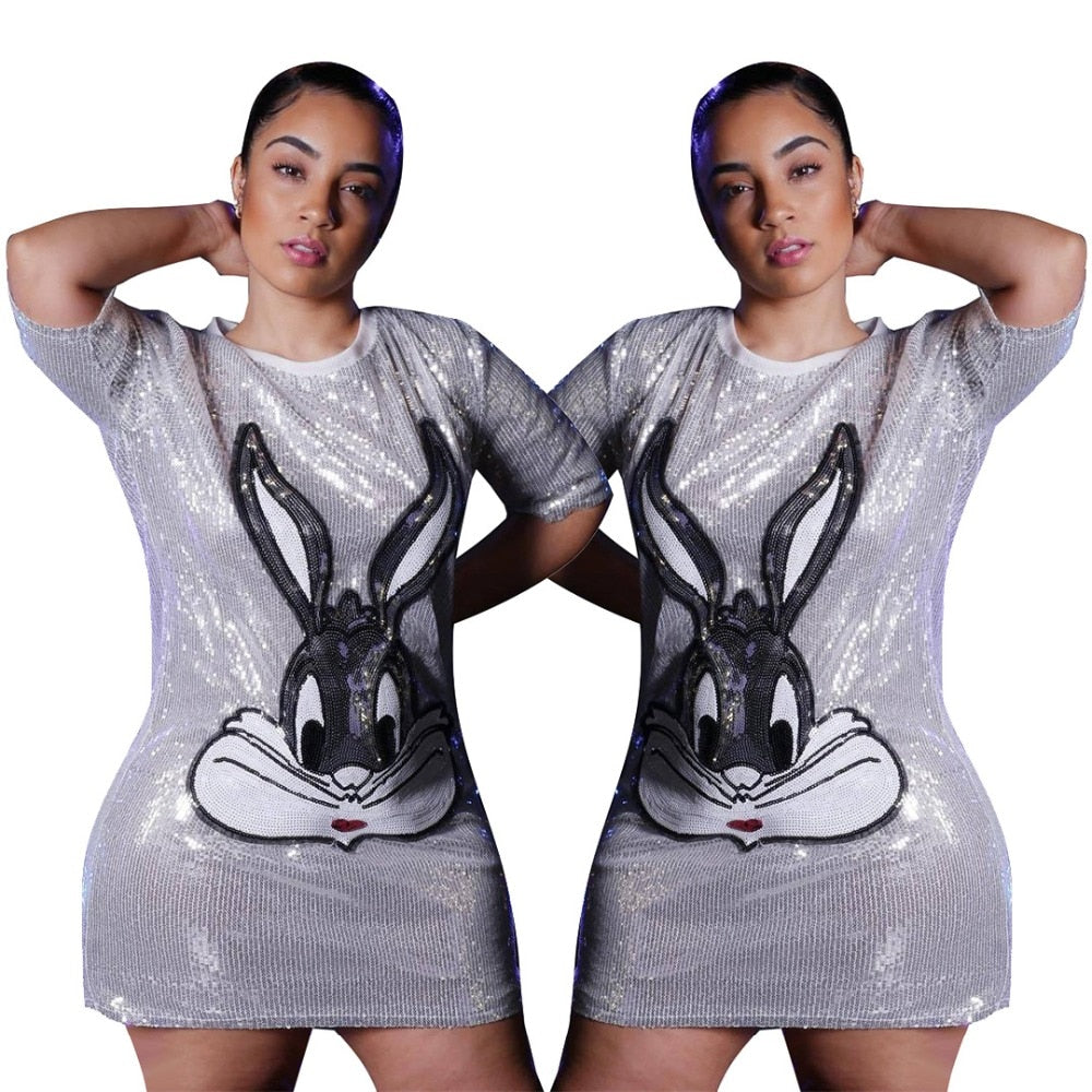 Cartoon Rabbit Sequined O Neck Short Sleeve Loose Mini Dress