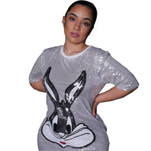Load image into Gallery viewer, Cartoon Rabbit Sequined O Neck Short Sleeve Loose Mini Dress