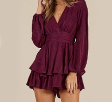 Load image into Gallery viewer, Long Sleeve Ruffle Bow V Neck Elegant Shorts Jumpsuit/Rompers