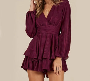Long Sleeve Ruffle Bow V Neck Elegant Shorts Jumpsuit/Rompers