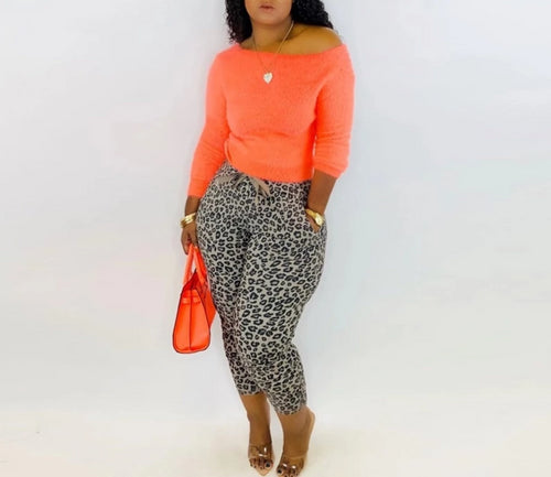 Neon Causal Two Piece Off Shoulder Backless Ruched Crop Tops and Leopard Pencil Pants