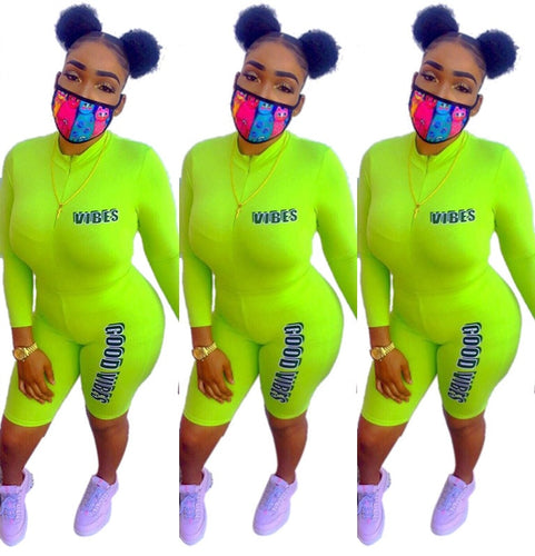 Neon Green Letter Two Piece Stand Collar Long Sleeve Jumpsuit