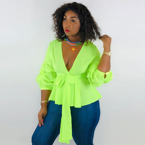 Neon Green Pufff Sleeve  Crop Top  Deep V Neck Three Quarter Sleeve Blouse