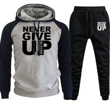 Load image into Gallery viewer, 2 Piece Never Give Up Men Hoodie +Pants Set