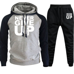 2 Piece Never Give Up Men Hoodie +Pants Set