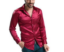 Load image into Gallery viewer, Silk Long Sleeve Casual Satin Shirt