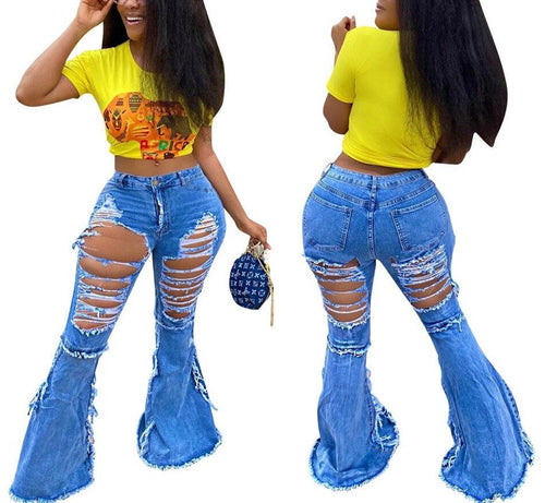 Front Back Hole Ripped Bell Bottom Wide Leg Flare Denim Jeans