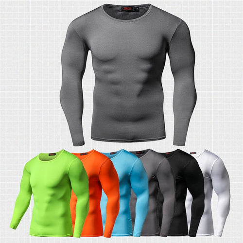 Quick Dry Compression Shirt Long Sleeves Fitness Bodybuilding Shirt - kats closet1