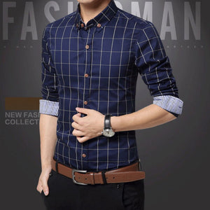 Slim Fit Men Long Sleeve Plaid Shirt