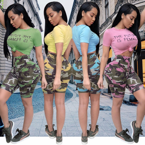 Two Piece Camouflage Print Set
