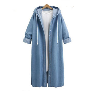 Plus Size L-4XL Hooded Long Denim Coat - kats closet1