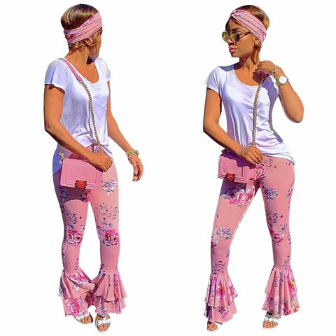 Pink Flare  Floral Ruffled Draped Wide Leg Pants