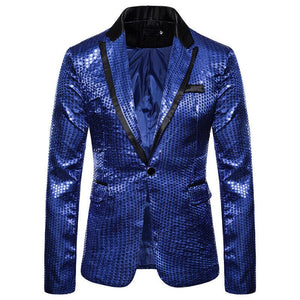 Sequin Glitter Slim Wedding Party Blazer