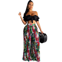 Load image into Gallery viewer, Multicolor Two Piece Short Sleeve Slash Collar Crop Top And Long Loose Pants