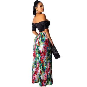 Multicolor Two Piece Short Sleeve Slash Collar Crop Top And Long Loose Pants