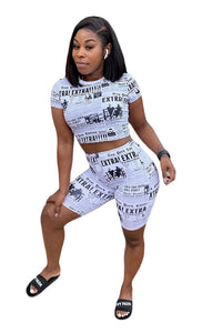 Newspaper Print 2 Piece Set Crop Top and Skinny Knee Length Pants