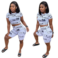 Load image into Gallery viewer, Newspaper Print 2 Piece Set Crop Top and Skinny Knee Length Pants