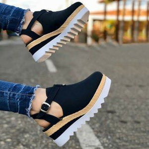 High Heel Buckle Strap Platform Wedge Sandals