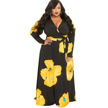 Load image into Gallery viewer, Plus Size Floral Print Long Maxi Dress