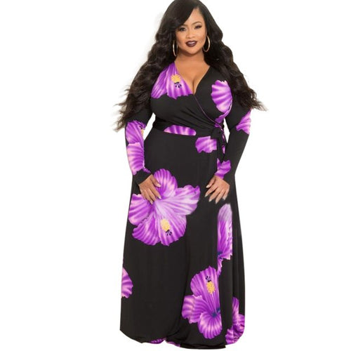 Plus Size Floral Print Long Maxi Dress