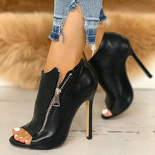 Load image into Gallery viewer, Thin High Heels Zipper Peep Toe Heels