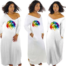 Load image into Gallery viewer, Mouth Lip Print White Long Sleeve Maxi Dress