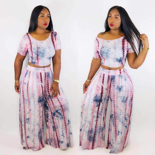 Two Piece Tie Dye Crop Top And Wide Leg Pants