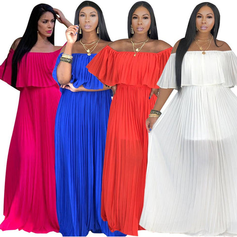4 Colors Pleated Pure Color Long Dress