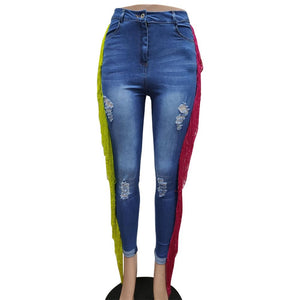 Colorful Tassels Holes Ripped Elastic Denim Jeans