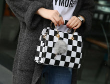 Load image into Gallery viewer, Black&white Plaid Design Flap Tote Shoulder Bag