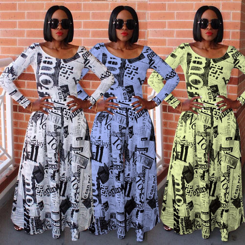 Newspaper Print O-Neck Wide Leg Casual Jumpsuit