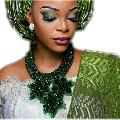 Nigerian Handmade Flowers Dark Green African Necklace Set