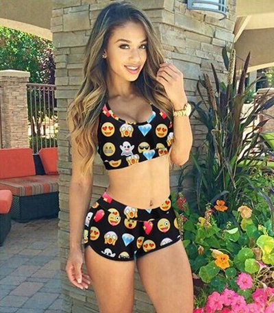 l Character Print Emojis High Waist Swimsuit - kats closet1