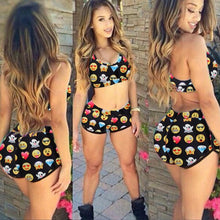 Load image into Gallery viewer, l Character Print Emojis High Waist Swimsuit - kats closet1