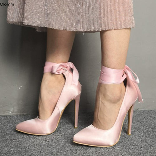 Ankle Strap Stiletto High Heels Pointed Toe Pink Party Shoes