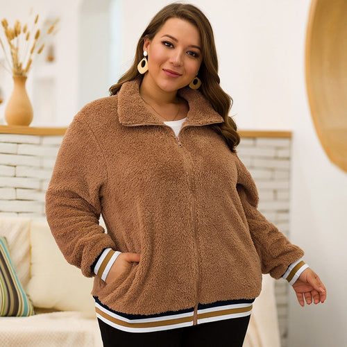Plus Size Wool Loose Faux Wool Warm Turn Down Collar Jacket