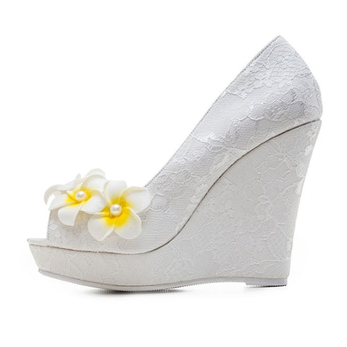 Open Toe High Heels Flower Wedding Shoes - kats closet1