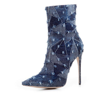 Denim Pointed Toe Thin Heels Ankle Boots